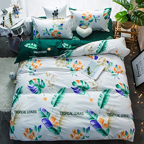 Full Queen Star Walking Flamingo Rest Full Heart Designs for Bedding Room (Tropical Leaves, Multi