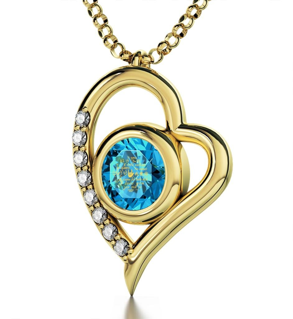 Gold Plated Heart Pendant Necklace I Love You 12 Languages 24k Gold Inscribed Blue Crystal, 18'' Chain