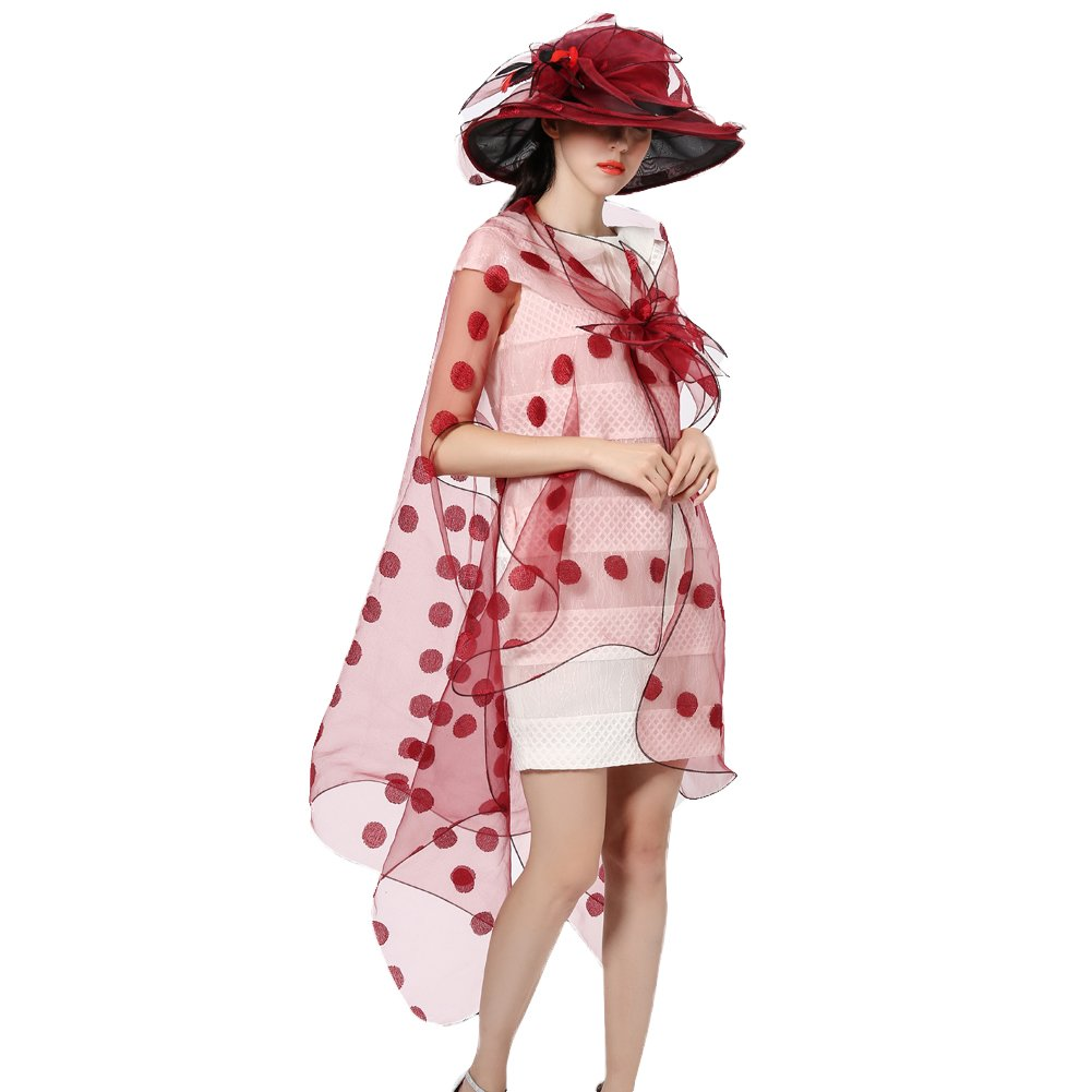 June's Young Women Race Hats Organza Hat with Ruffles Feathers (WineRed dot)