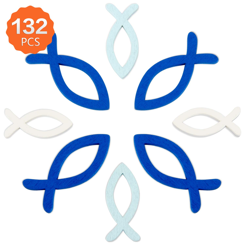 132 Unidades Deco Peces Madera De Madera Peces Pescado De La Primavera Decoraci/ón De La Mesa Del Bautismo Confirmaci/ón De La Comuni/ón Decoraci/ón Comuni/ón Ni/ño y ni/ña