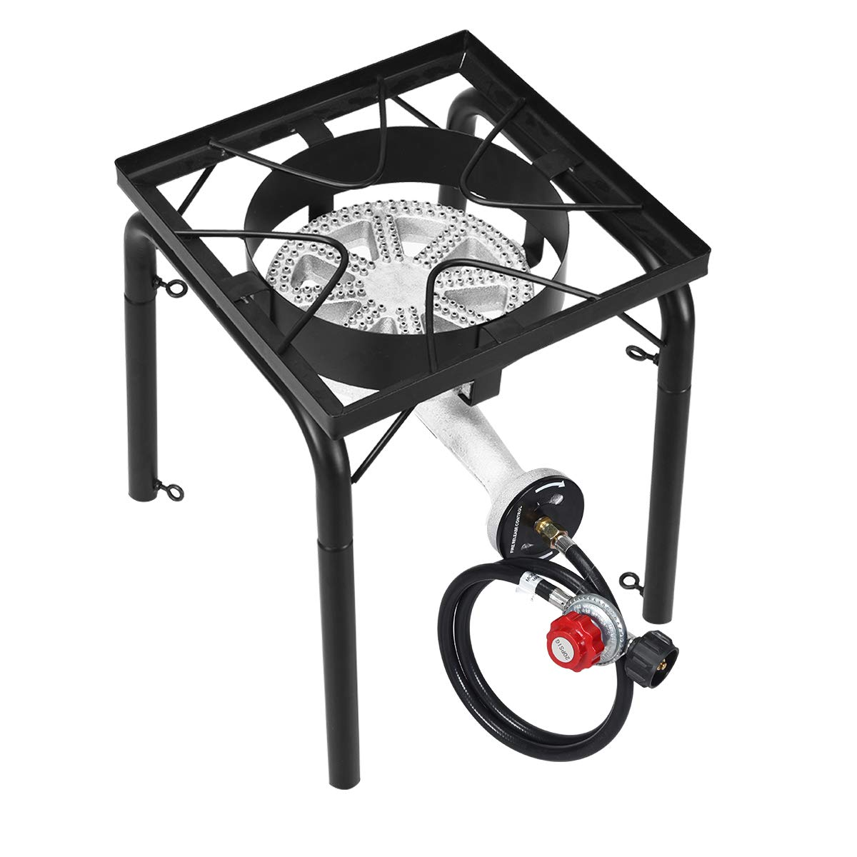 GYMAX Outdoor Stove, Single Burner High Pressure Portable Gas Cooking Stove with Adjustable Regulator & Legs, Perfect for Camping Patio, 200,000-BTU by GYMAX