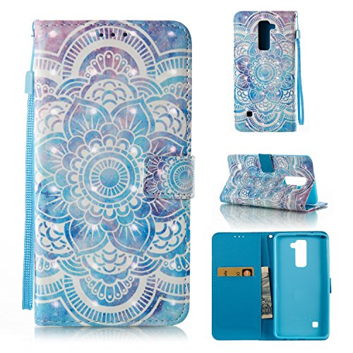 LG Stylo 2 Case, LG Stylo 2 Plus Case, Ranyi [3D Painted Wallet] [Variety Painted Patten] [Card Holder] Shiny Leather Flip Wallet Kickstand Case for LG Stylo 2 / LG Stylo 2 Plus (datura)