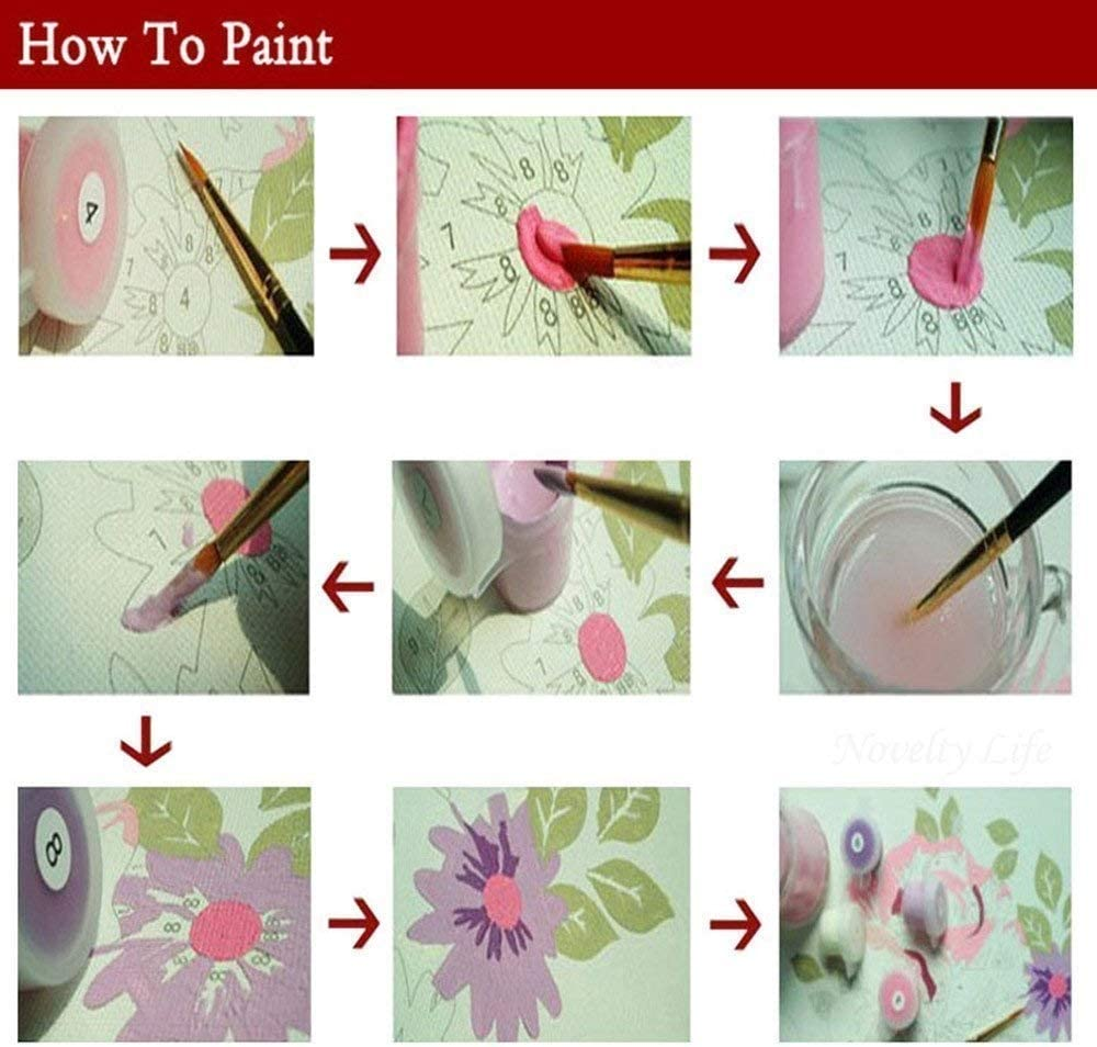 Frameless, Peony pink Diy Oil Painting Paint by Number Kit with Flowers painting Life PBN Home Wall Art Decor 16x20 inch