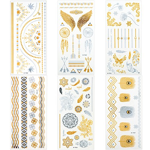 porary Tattoos, 6 Sheets Premium Tattoo Stickers Gold Silver Fake Flash Tattoos, 90+ Waterproof Jewelry Tattoo for Adults or Kids (Free Flash Tattoos)