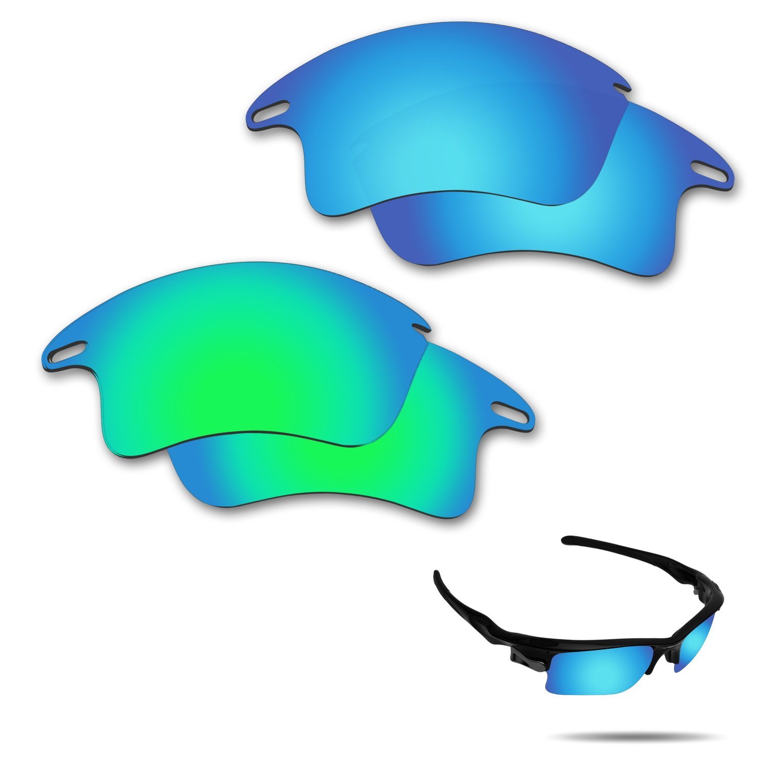 Fiskr Anti-Saltwater Polarized Replacement Lenses for Oakley Fast Jacket XL Sunglasses 2 Pairs Packed (Ice Blue & Emerald Green)