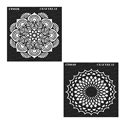 Side Feathered Peacock /& Indian Motifs DIY Albums and Printing on Paper Mandala2 Wall Wood 6X6 | Reusable Painting Template for Home Decor Crafting Indian Elephant CrafTreat Stencil 4 pcs