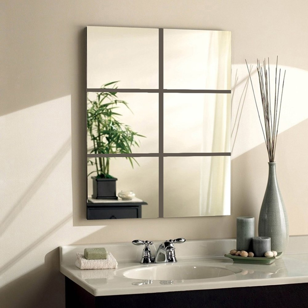 Glass Vintage Mirror Wall Tiles Self Adhesive Square Silver 6 Pcs ...