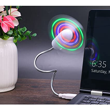 Air Conditioning Appliance Parts Flexible Soft Blade Colorful Led Light Flash Usb Fan Cooling For Notebook Laptop Volume Large Home Appliance Parts