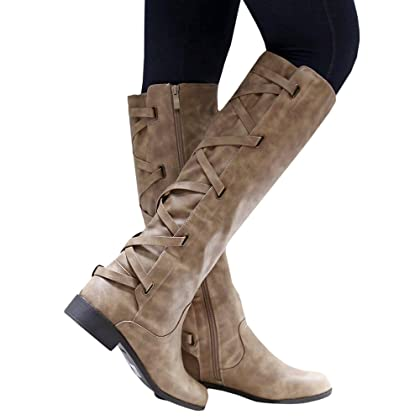 6adeafa49a58 ... Syktkmx Womens Winter Lace Up Strappy Knee High Motorcycle Riding Flat  Low Heel Boots