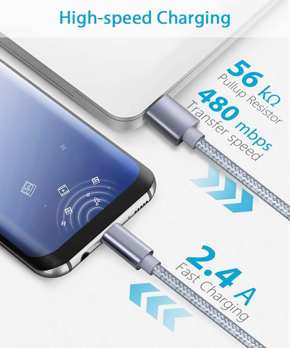 Nylon Braided Fast Charger Cord Blue Compatible with Samsung Galaxy S10 S9 Note 10 9 8 S8 Plus,LG V30 V20 G6 G5,Google Pixel 6ft USB Type C Cable OULUOQI USB C Cable 3 Pack USB 2.0