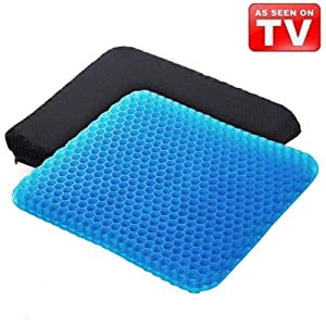 Angushy Egg Gel Seat Cushion, Breathable Gel Cushion Chair Pads with Non-Slip Cover for Home Office Car Wheelchair, Honeycomb Design As Seen On TV