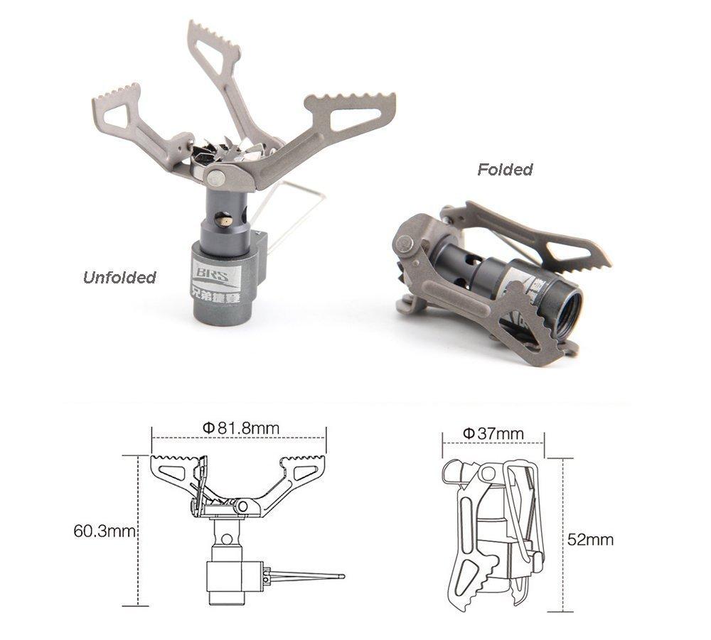 BRS de 3000T 25 g de Ultra Light Titanium Alloy Hornillo de Camping Exterior eléctrica Exterior Cocina de Gas en Miniatura Portable Picnic: Amazon.es: ...