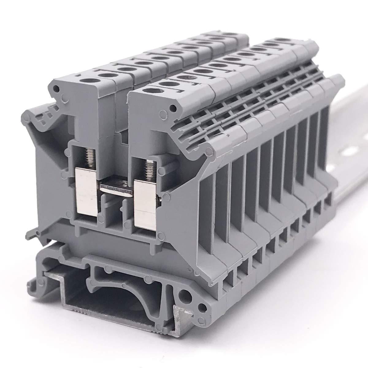 Erayco UK5N-GR DIN Rail Terminal Block, Screw Clamp, 600V 30A 30-10AWG, Pack of 100