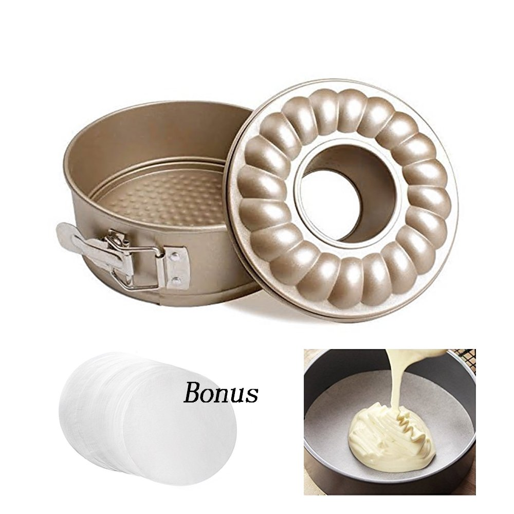 Instant Pot Accessories 7 inch Baking Bundt Pans Non stick Springform Cheesecake Pan Leakproof Round Cake Pan with 2 removable bottoms Gold Fit for 5, 6 and 8 qt Instant Pot and Pressure Cooker