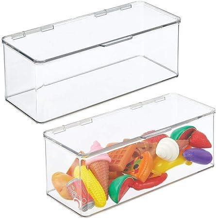 mDesign Juego de 2 organizadores de juguetes – Juguetero grande con tapa de plástico robusto – Caja organizadora apilable para guardar juguetes y manualidades – 14,6 x 34,0 x 12,7 cm – transparente: Amazon.es: Hogar
