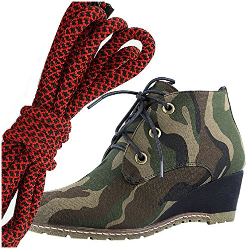DailyShoes Womens Fashion Lace Up Round Toe Ankle High Oxford Wedge Bootie, Red Black Camouflage Cv