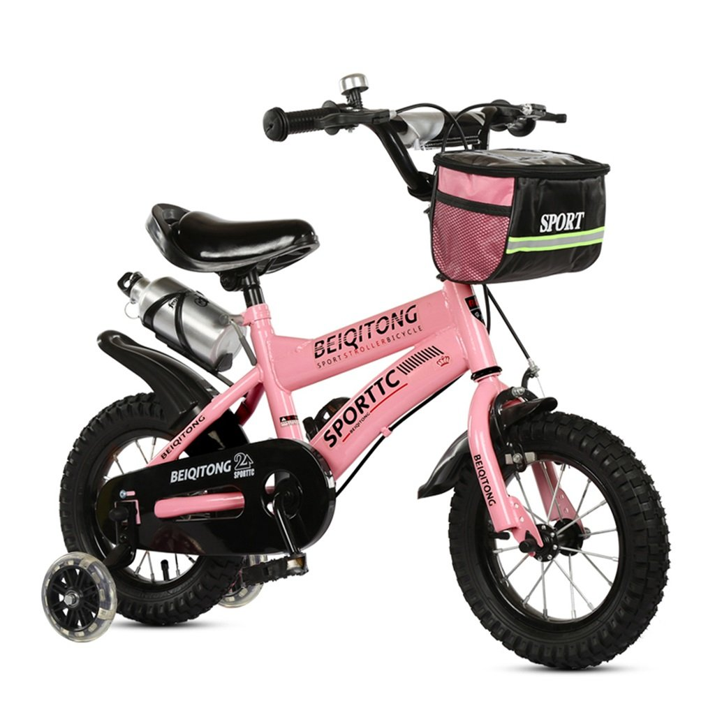 子供の自転車12|14|16|18|20インチ屋外の子供ベイビーキッドマウンテンバイクフラッシュトレーニングホイールで2歳から11歳の男の子の女の子の贈り物|布バスケット|ウォーターボトルセーフダンピングピンク B078JX15VS12インチ