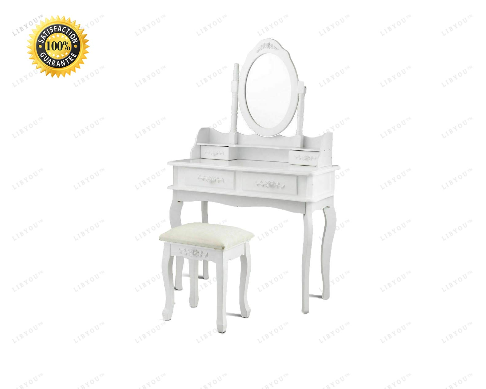 LIBYOU__Makeup Table with Mirror,Vanity Makeup Dressing Table Set, Mirror Jewelry Storage,Dressing Table Set,Mirror Vanity Table Set,Mirrored Bathroom Furniture,Stool Table Desk