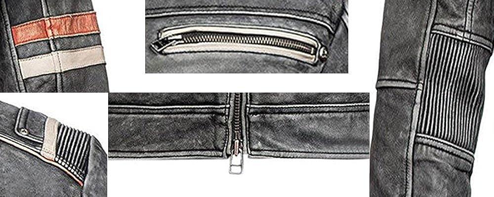 Vintage caf/é Racer Motorcycle Men/'s Leather Jacket on Retro Moto Distressed