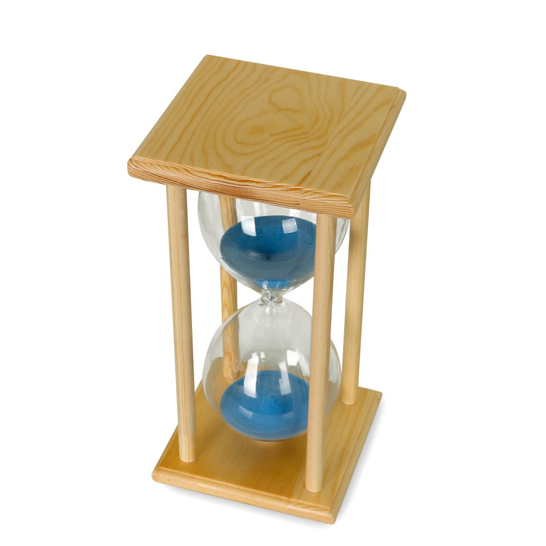Bojin Wood 10 Minutes White Frame Blue Sand Glass Hourglass Hour Timer With About Meter