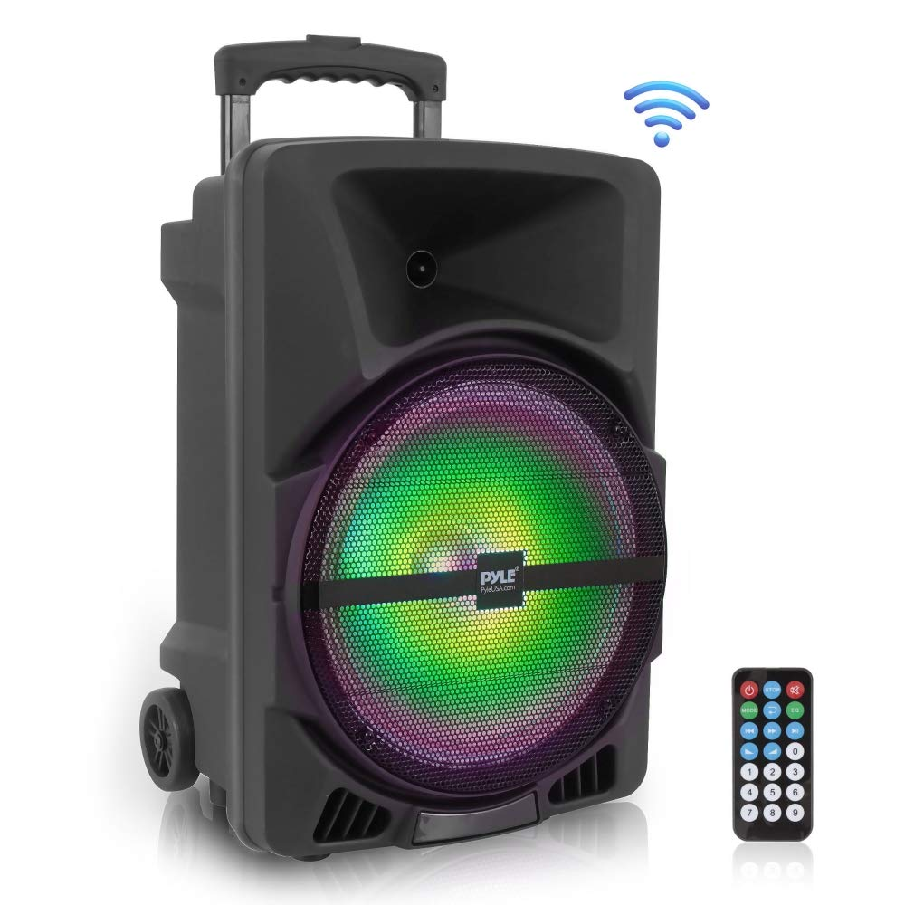 Wireless Portable PA Speaker System -1200W High Powered Bluetooth Compatible Indoor and Outdoor DJ Sound Stereo Loudspeaker w/ USB SD MP3 AUX3.5mm Input, Flashing Party Light & FM Radio -PPHP1544B