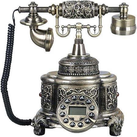 JUFENG Teléfono Antiguo Inalámbrico Rotatorio Europeo Teléfono Fijo Doméstico Retro Moda Creativa Vintage - Campana De Metal Y Decoración De Oficina,Bronze-20 * 28 * 25cm: Amazon.es: Hogar