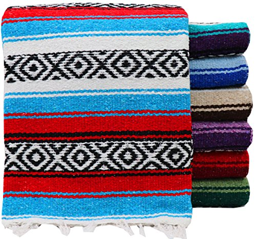 "(Threads West Premium Large Heavyweight Mexican Falsa Blanket, Serape Stripe Yoga Blanket (72"" X 52"") (Large Heavy, Random Color))"