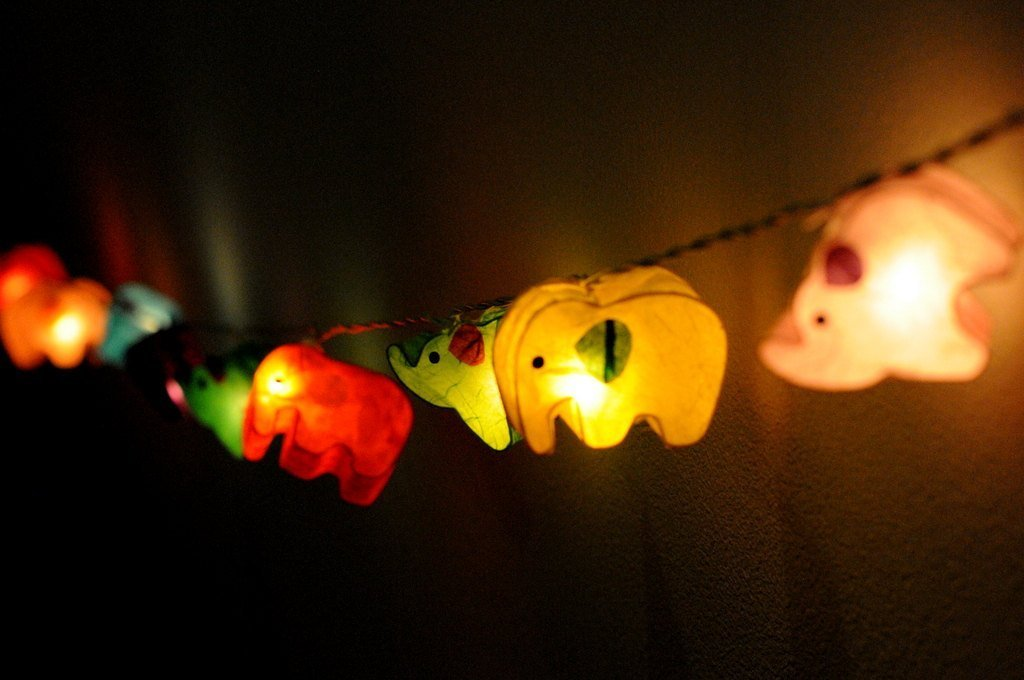 Battery AA LED Handmade Colorful Elephant Zoo Animal Plant Paper Lantern String Light Kid Bedroom Light Display Garland Colorful / 20 lights by Thai Decorated