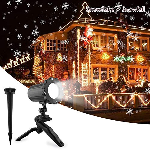 Christmas Projetor Lights, Comkes Snowflake Projector Light Snowfall Light Fairy Landscape Light Show Waterproof Rotating Spotlight Projection for Christmas Halloween Party Wedding Outdoor Decorations