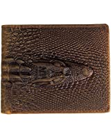 Men's Genuine Crazy Horse Leather Alligator...