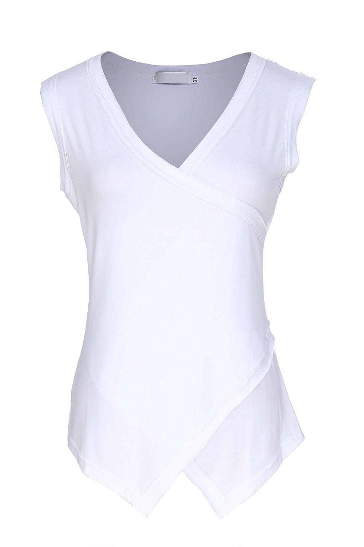 Damen Top mit Spitze ärmellose Bluse Shirt aus Viskose in weiß Gr 36 38