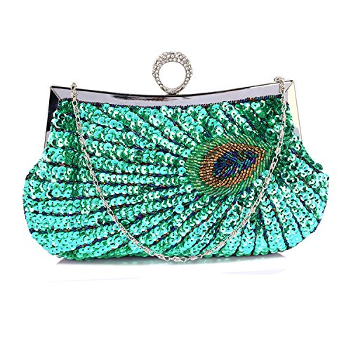 Design Emerald Handbags Clutch LeahWard Clutch For Sequin Bags Bag Feather Wedding Peacock Evening Women's a Party CW298 w6qIz6gZS
