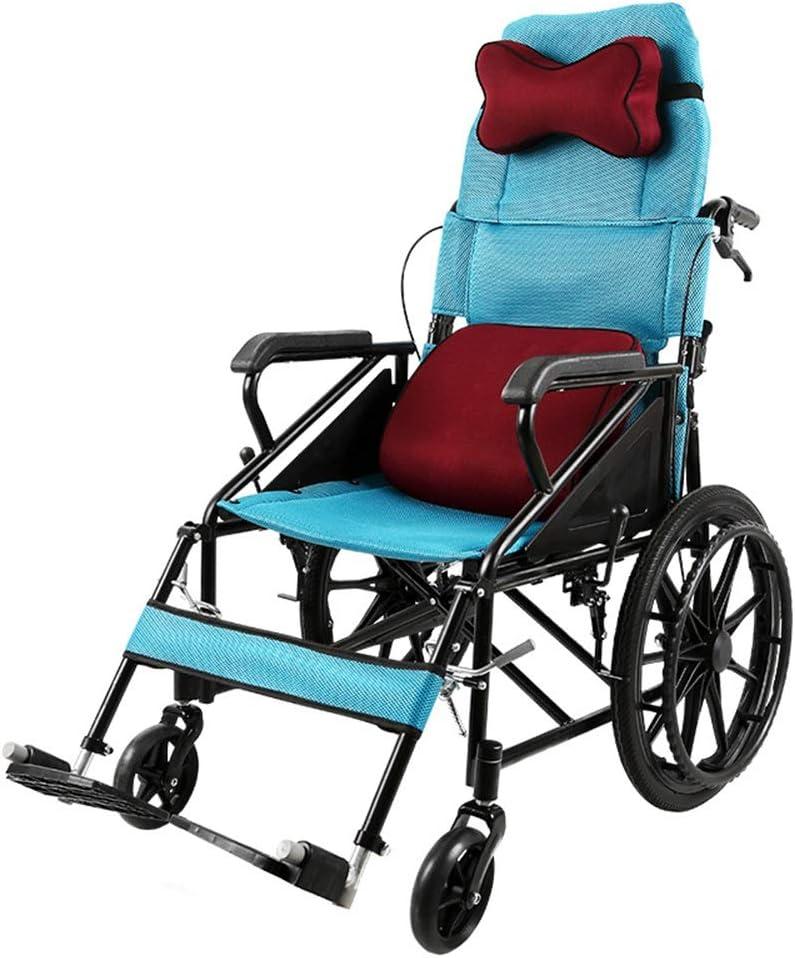 Yamyannie Silla de Ruedas Plegable Semireclinada Respaldo Alto Plegable Ligero multifunción portátil Comfort de vejez Suave y Firme de la Carretilla para Ancianos, Discapacitados