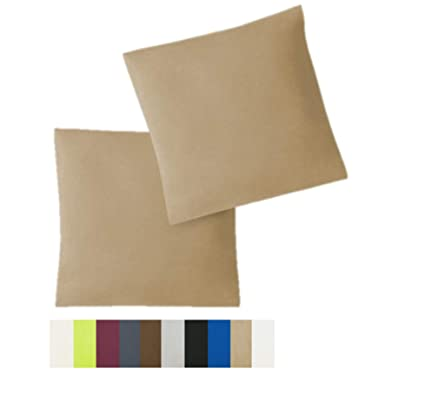 Funda de cojín, juego de 2 unidades, con cremalleras, 5 tamaños, de alta calidad, 100 % algodón, arena, 40 x 40 cm