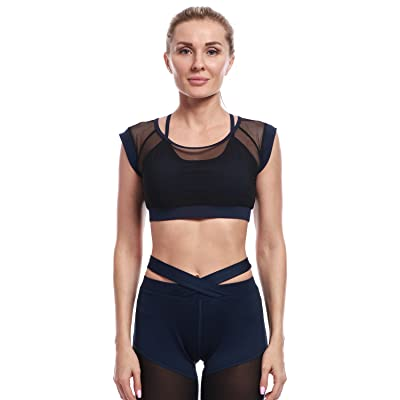 f92dc77dbb AmeSport Women s High Impact Compression Mesh Sports Bra Short Sleeves Crop  Top For Yoga Running Gym