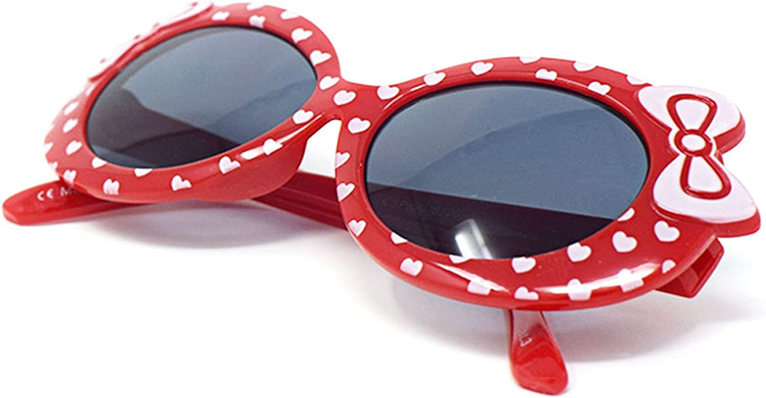 2 x Red Coloured Childrens Kids Girls Stylish Cute Designer Style Sunglasses High Quality with a Bow and heart Style UV400 Sunglasses Shades UVA UVB Protection