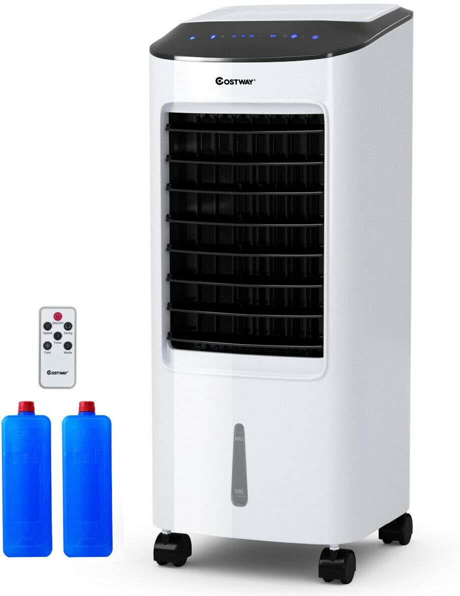 COSTWAY Evaporative Cooler, Portable Air Cooler with LED Display, Remote Control, 7.5-Hour Timing Function, for Home & Office, Cooling & Humidification Function (29-Inch)