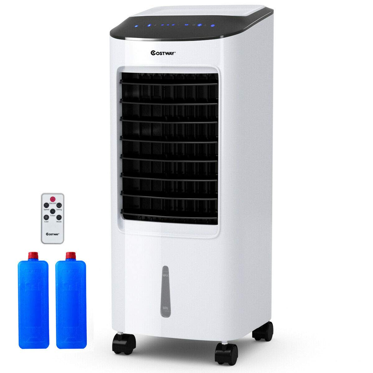 COSTWAY Evaporative Cooler, Portable Bladeless Air Cooler, Electric Fan & Humidifier with Remote Control, LCD Display, 3 Modes Air Conditioner for Indoor Home Office Dorms (29-Inch)