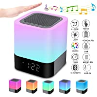 Bedside Lamp with Alarm Clock Bluetooth Speaker, Night Light Bluetooth Speaker Dimmable RGB Color Changing LED Wireless…