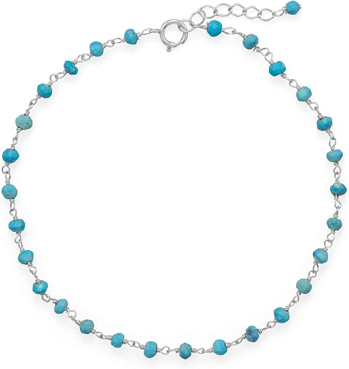Reconstituted Turquoise Anklet Adjustable Length Rhodium-plated