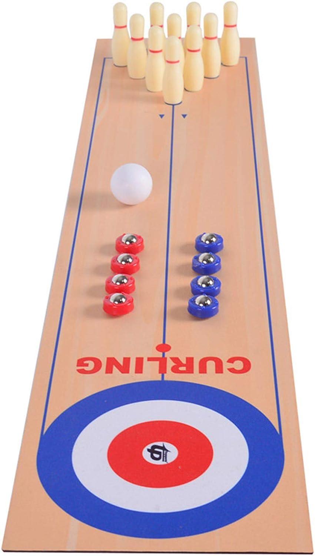 LAYX 3 en 1 Juego de Curling de Mesa Juego de Mesa de Bowling thuffleboard, Padre-niño Interactivo Fiesta Divertido Mesa de Mesa, Regalo para niños y Adultos