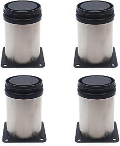 Furniture Legs Karcy Stainless Steel Kitchen Adjustable Feet Round Black and Silver Kitchen Cabinet Foot 50x80mm/2