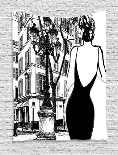 Ambesonne Paris Tapestry, Young Woman in a Black Dress in The Streets of Paris Old Building Facade Cityscape, Wall Hanging for Bedroom Living Room Dorm Decor, 40 X 60 , White Black