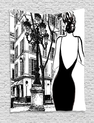 Ambesonne Paris City Decor Collection, Young Elegant Woman in a Black Dress in Paris Street Old Building Facade Cityscape, Bedroom Living Room Dorm Wall Hanging Tapestry, Black and White