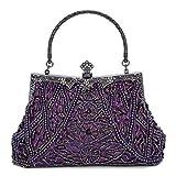 Fashion Vintage Style Handbag Beaded Sequined Evening Bag Wedding Party Handbag Rhinestone Clutch Purse (Purple)