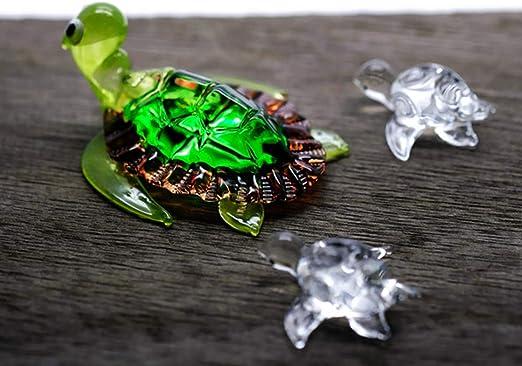 ChangThai Design 3 Pcs Aquarium Brown with Cute Baby Turtle HandBowl Glass Dollhouse Miniatures Decoration Figurine Collection