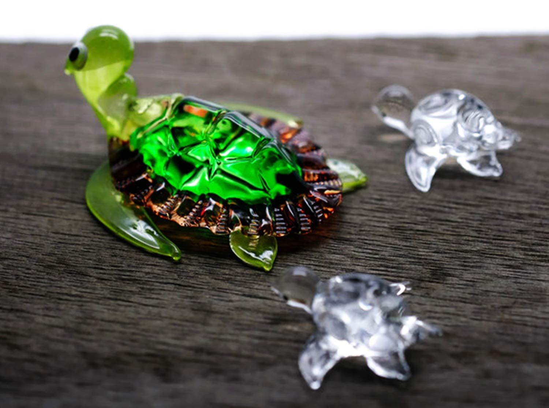 ChangThai Design 3 Pcs Aquarium Green with Cute Baby Turtle HandBowl Glass Dollhouse Miniatures Decoration Figurine Collection