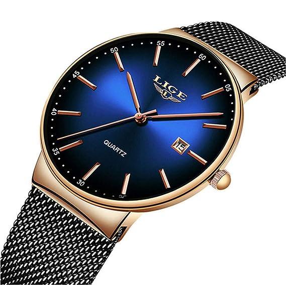 LIGE Relojes para Hombre Reloj de Cuarzo analógico Ultra Delgado y de Moda Simple Gents Negro Reloj de Pulsera Impermeable de Acero Inoxidable Reloj ...