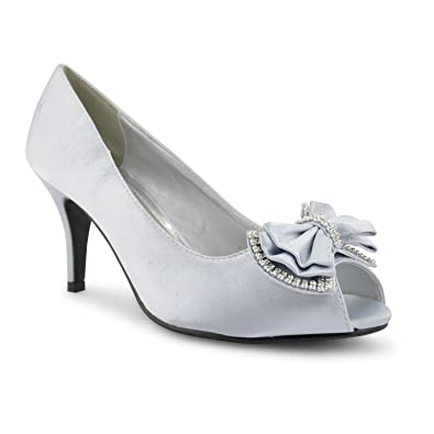 42e5f265031 New Ladies High Stiletto Heel Peep Toe Diamante Satin Court Shoes UK Size  3-8