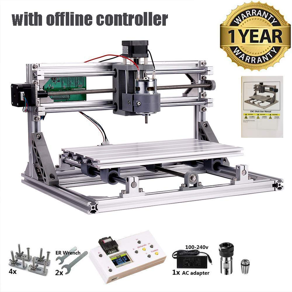 CNC 3018 Router Kit with Offline Controller GRBL Control 3 Axis Plastic Acrylic PCB PVC Wood Carving Milling Engraving Machine, XYZ Working Area 300x180x45mm by NUXIUS